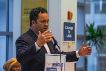 Ben Jealous rallied with supporters at UMBC