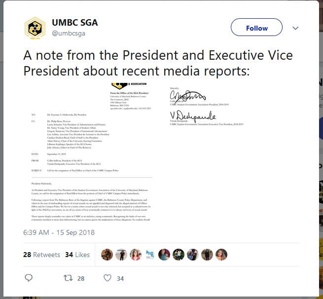 SGA email calls for police chief resignation